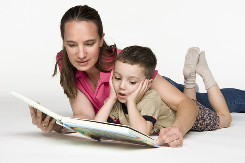 mother son reading